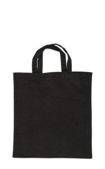 Klassischer Jutebeutel schwarz kurze Henkel Produktbild